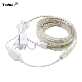 Tanbaby AC220V LED Strip Gaismas SMD 5050 60leds/m IP67 Waterproof elastīgu led lentes ar ON/OFF slēdzi 1M/2M/3/4/5/6/7/8/9/10/20M